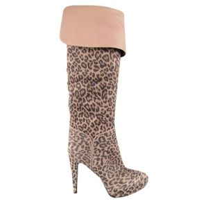 SergioRossi Leopard Print Over The Knee Boots 38.5